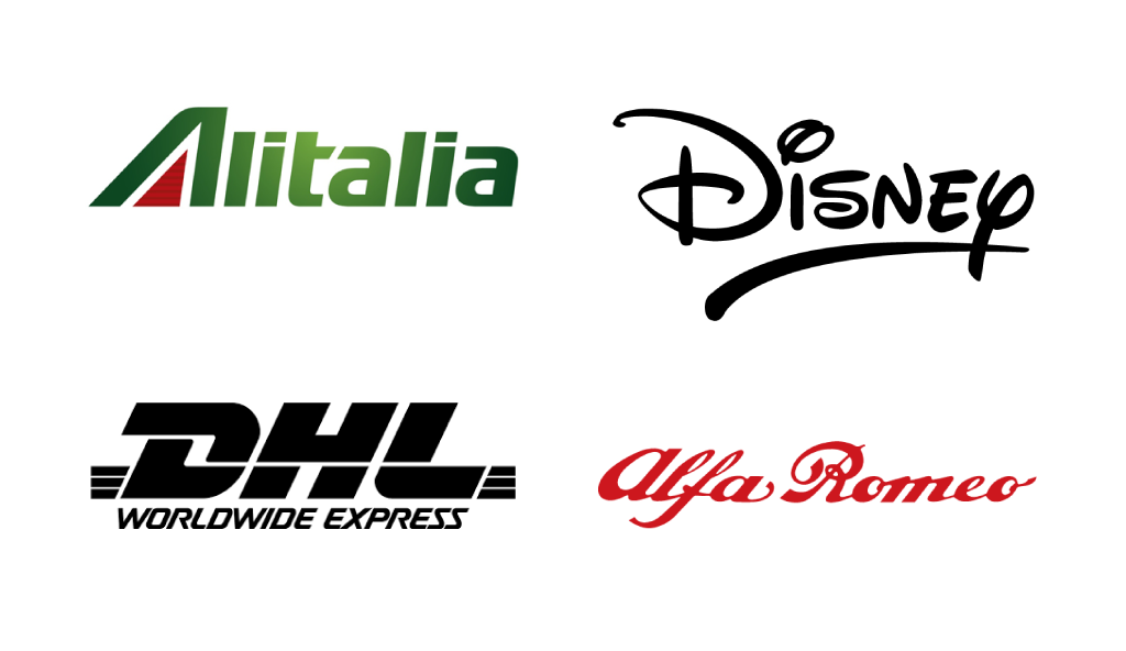 Marchi Loghi famosi Tipografia PhoenixVisual Graphic Design Vicenza Alitalia Disney Dhl Alfa Romeo