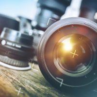Professional Photography Equipment. Professional Photographer Work Kit. Photo Lenses.